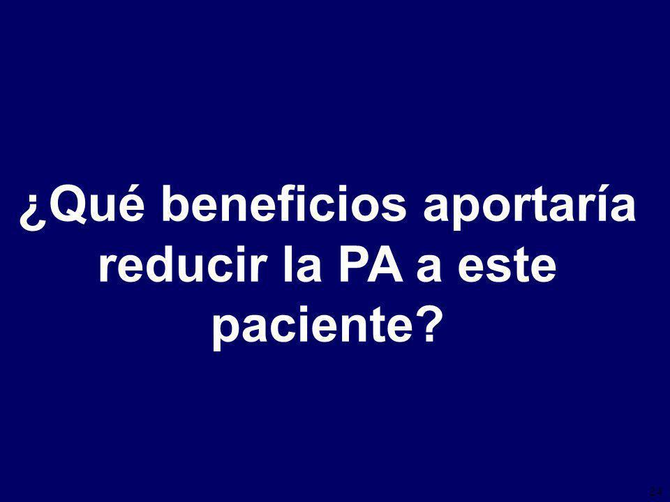 24 ¿Qué beneficios aportaría reducir la PA a este paciente
