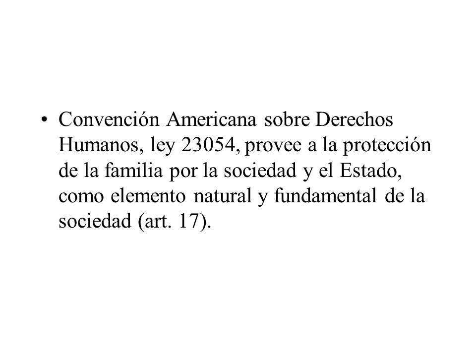 Convención Americana sobre Derechos Humanos, ley 23054, provee a la protección de la familia por la sociedad y el Estado, como elemento natural y fund
