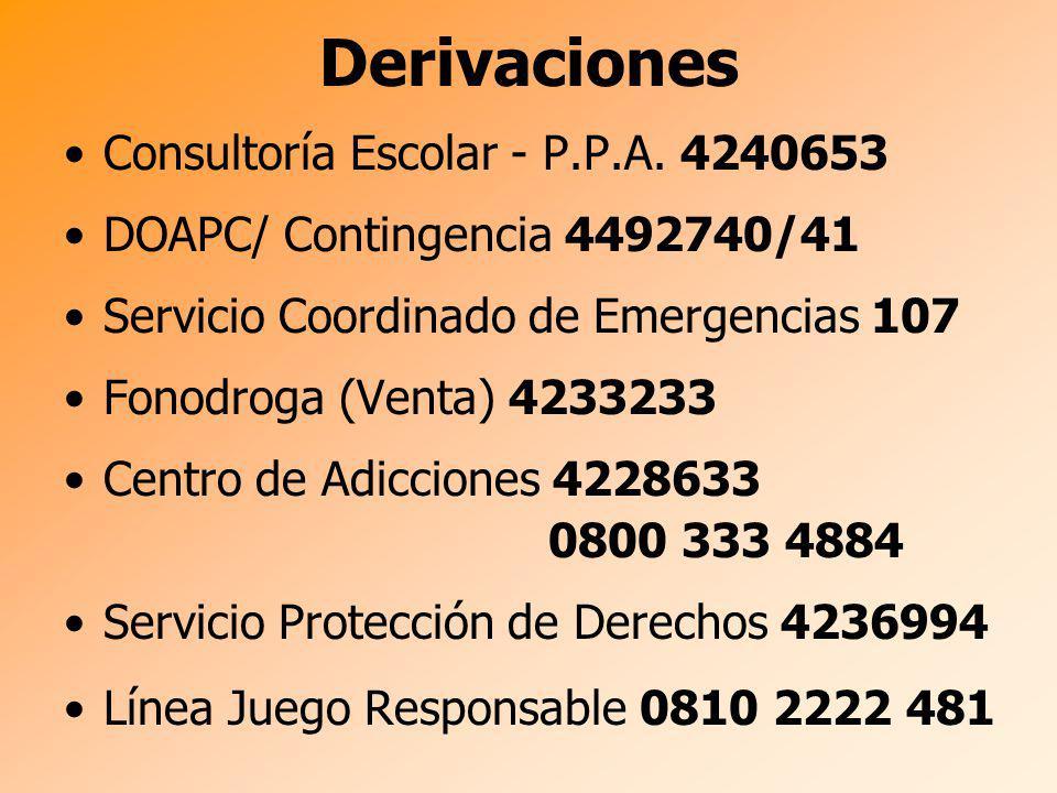 Derivaciones Consultoría Escolar - P.P.A. 4240653 DOAPC/ Contingencia 4492740/41 Servicio Coordinado de Emergencias 107 Fonodroga (Venta) 4233233 Cent