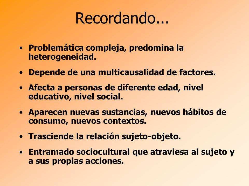 Recordando... Problemática compleja, predomina la heterogeneidad. Depende de una multicausalidad de factores. Afecta a personas de diferente edad, niv
