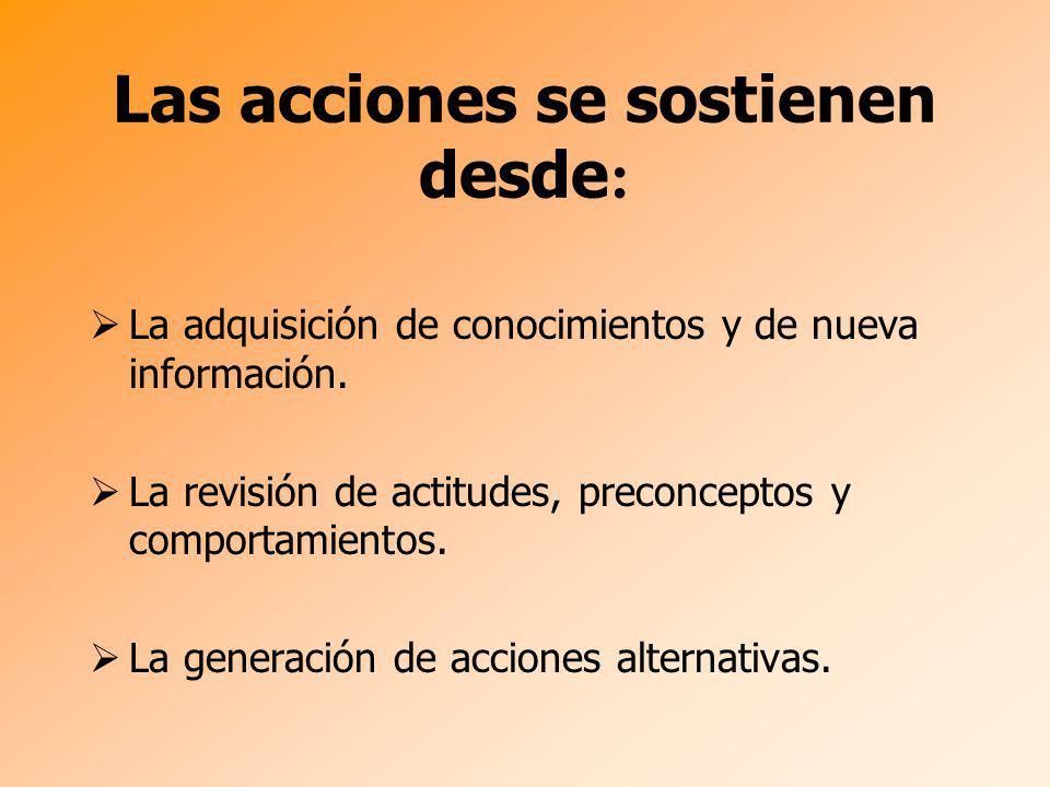 Las acciones se sostienen desde : La adquisición de conocimientos y de nueva información. La revisión de actitudes, preconceptos y comportamientos. La