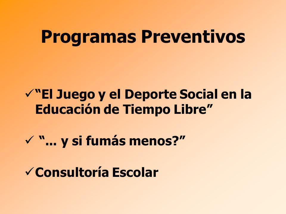 Programas Preventivos El Juego y el Deporte Social en la Educación de Tiempo Libre... y si fumás menos? Consultoría Escolar