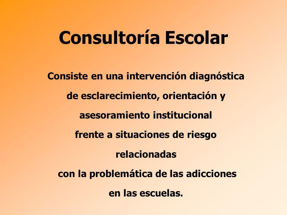 Consiste en una intervención diagnóstica de esclarecimiento, orientación y asesoramiento institucional frente a situaciones de riesgo relacionadas con