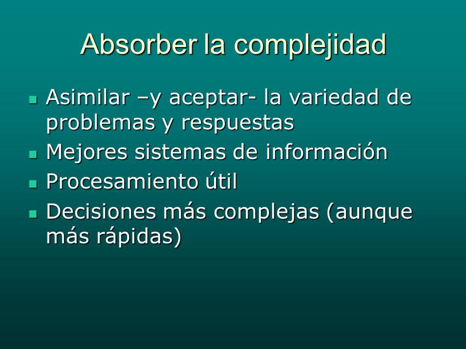 Absorber la complejidad Asimilar –y aceptar- la variedad de problemas y respuestas Asimilar –y aceptar- la variedad de problemas y respuestas Mejores sistemas de información Mejores sistemas de información Procesamiento útil Procesamiento útil Decisiones más complejas (aunque más rápidas) Decisiones más complejas (aunque más rápidas)