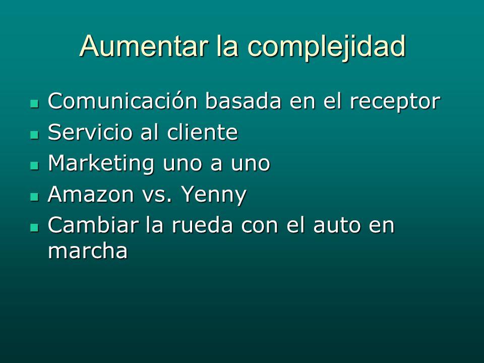 Aumentar la complejidad Comunicación basada en el receptor Comunicación basada en el receptor Servicio al cliente Servicio al cliente Marketing uno a uno Marketing uno a uno Amazon vs.