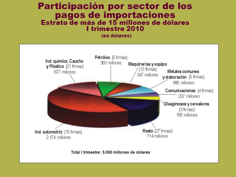 Sin mostrar VII Participación por sector de los pagos de importaciones Estrato de más de 15 millones de dólares I trimestre 2010 (en dólares) Total I