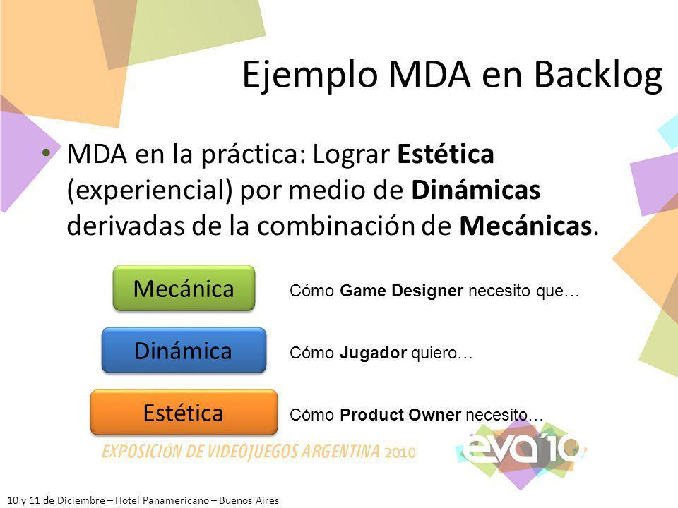 10 y 11 de Diciembre – Hotel Panamericano – Buenos Aires Ejemplo MDA en Backlog MDA en la práctica: Lograr Estética (experiencial) por medio de Dinámi