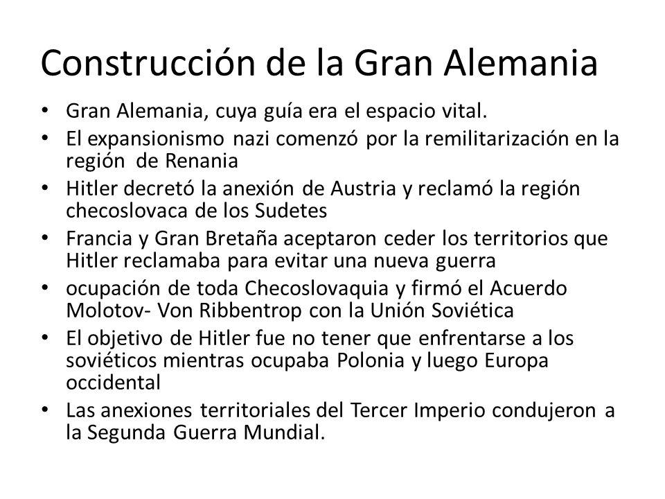 Construcción de la Gran Alemania Gran Alemania, cuya guía era el espacio vital.