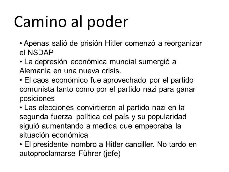 Camino al poder Apenas salió de prisión Hitler comenzó a reorganizar el NSDAP La depresión económica mundial sumergió a Alemania en una nueva crisis.