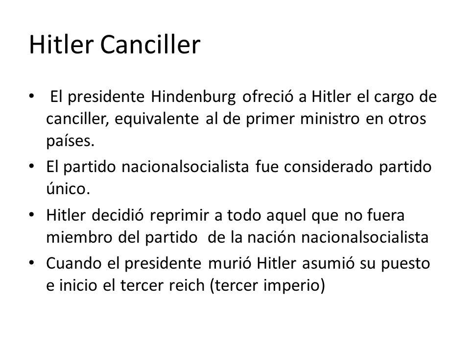 Hitler Canciller El presidente Hindenburg ofreció a Hitler el cargo de canciller, equivalente al de primer ministro en otros países.