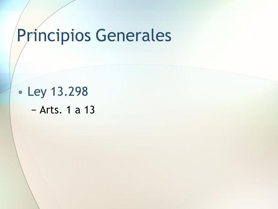 Principios Generales Ley 13.298 Arts. 1 a 13