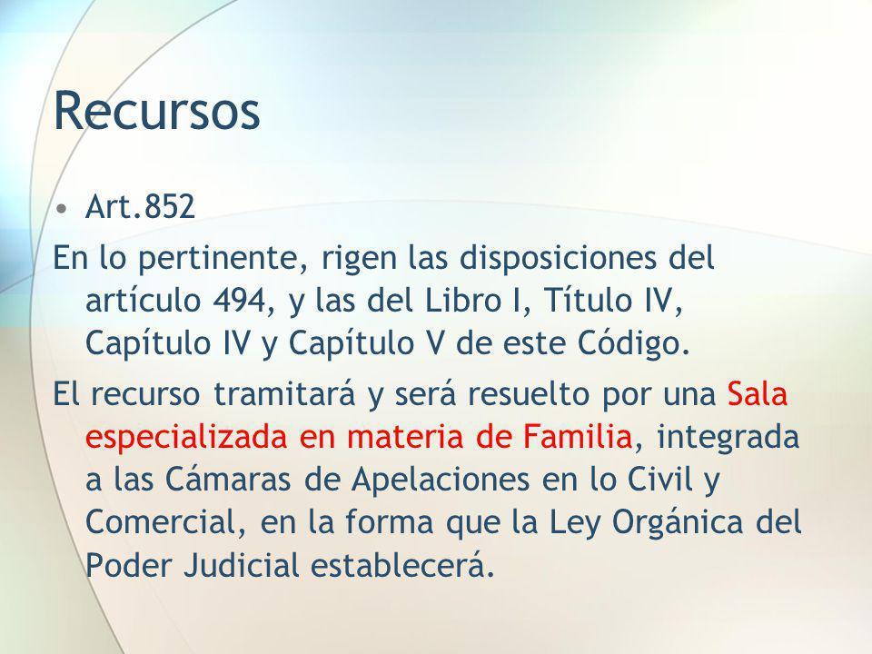Recursos Art.852 En lo pertinente, rigen las disposiciones del artículo 494, y las del Libro I, Título IV, Capítulo IV y Capítulo V de este Código. El