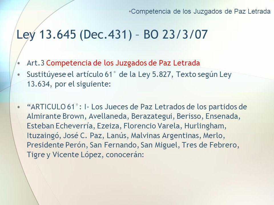 Ley 13.645 (Dec.431) – BO 23/3/07 Art.3 Competencia de los Juzgados de Paz Letrada Sustitúyese el artículo 61° de la Ley 5.827, Texto según Ley 13.634