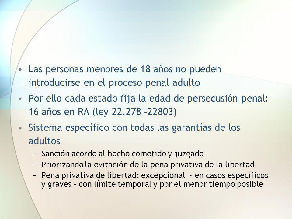 Las personas menores de 18 años no pueden introducirse en el proceso penal adulto Por ello cada estado fija la edad de persecusión penal: 16 años en R