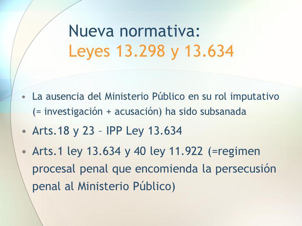 Nueva normativa: Leyes 13.298 y 13.634 La ausencia del Ministerio Público en su rol imputativo (= investigación + acusación) ha sido subsanada Arts.18