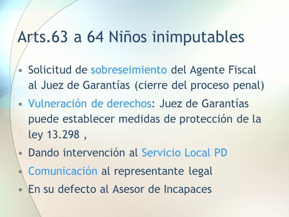 Arts.63 a 64 Niños inimputables Solicitud de sobreseimiento del Agente Fiscal al Juez de Garantías (cierre del proceso penal) Vulneración de derechos: