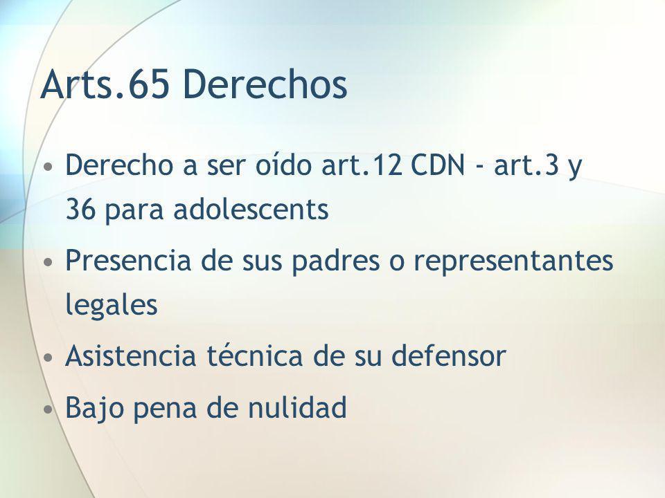 Arts.65 Derechos Derecho a ser oído art.12 CDN - art.3 y 36 para adolescents Presencia de sus padres o representantes legales Asistencia técnica de su