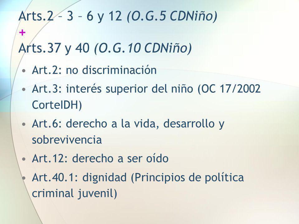 Arts.2 – 3 – 6 y 12 (O.G.5 CDNiño) + Arts.37 y 40 (O.G.10 CDNiño) Art.2: no discriminación Art.3: interés superior del niño (OC 17/2002 CorteIDH) Art.