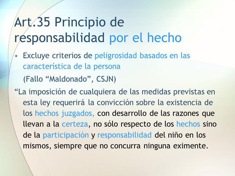 Art.35 Principio de responsabilidad por el hecho Excluye criterios de peligrosidad basados en las característica de la persona (Fallo Maldonado, CSJN)