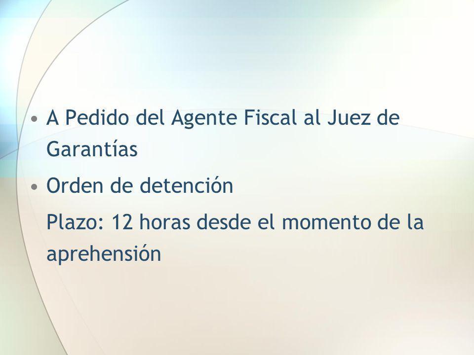 A Pedido del Agente Fiscal al Juez de Garantías Orden de detención Plazo: 12 horas desde el momento de la aprehensión