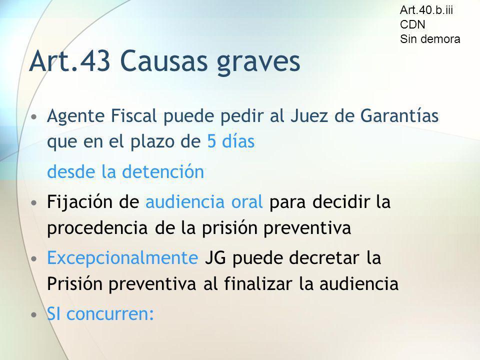 Art.43 Causas graves Agente Fiscal puede pedir al Juez de Garantías que en el plazo de 5 días desde la detención Fijación de audiencia oral para decid