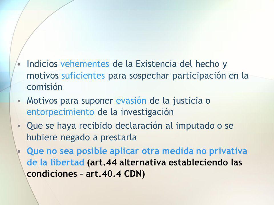 Indicios vehementes de la Existencia del hecho y motivos suficientes para sospechar participación en la comisión Motivos para suponer evasión de la ju