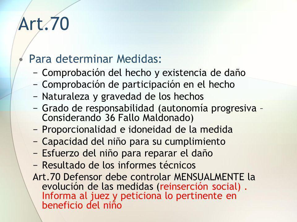 Art.70 Para determinar Medidas: Comprobación del hecho y existencia de daño Comprobación de participación en el hecho Naturaleza y gravedad de los hec