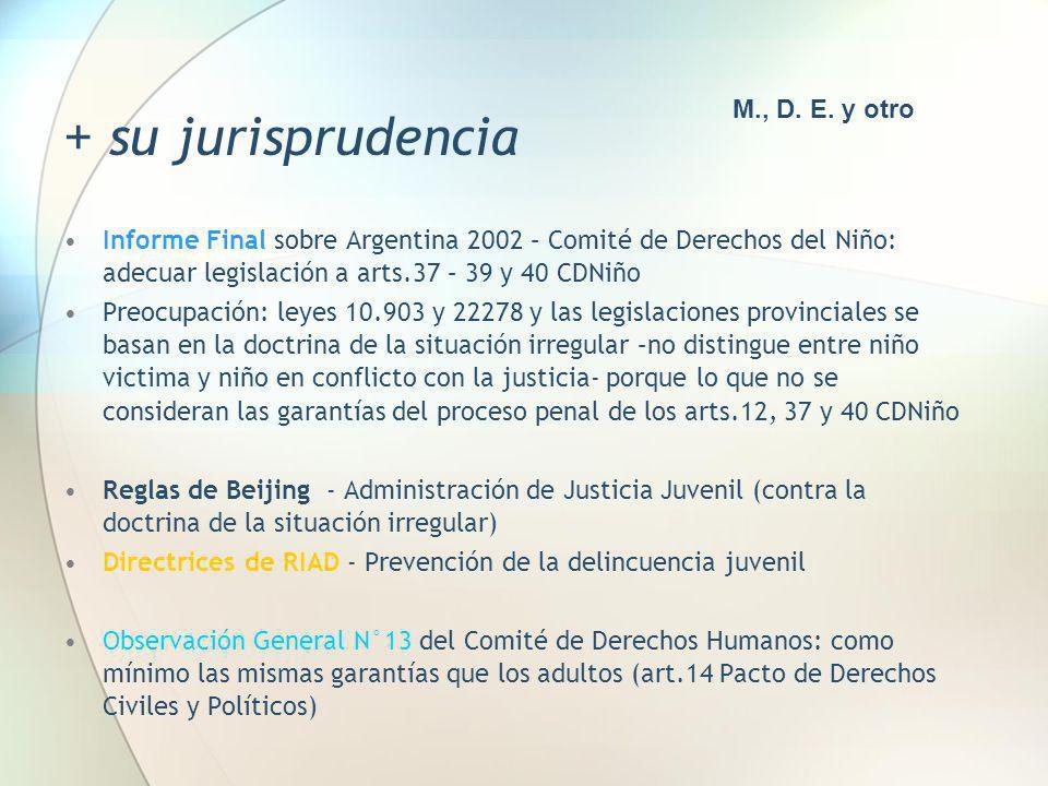 + su jurisprudencia Informe Final sobre Argentina 2002 – Comité de Derechos del Niño: adecuar legislación a arts.37 – 39 y 40 CDNiño Preocupación: ley