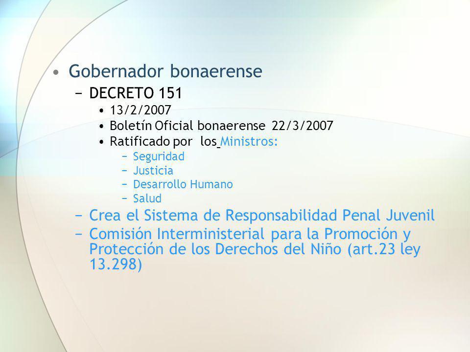 Gobernador bonaerense DECRETO 151 13/2/2007 Boletín Oficial bonaerense 22/3/2007 Ratificado por los Ministros: Seguridad Justicia Desarrollo Humano Sa