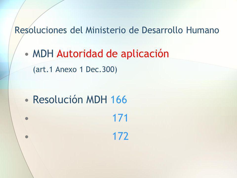 Resoluciones del Ministerio de Desarrollo Humano MDH Autoridad de aplicación (art.1 Anexo 1 Dec.300) Resolución MDH 166 171 172