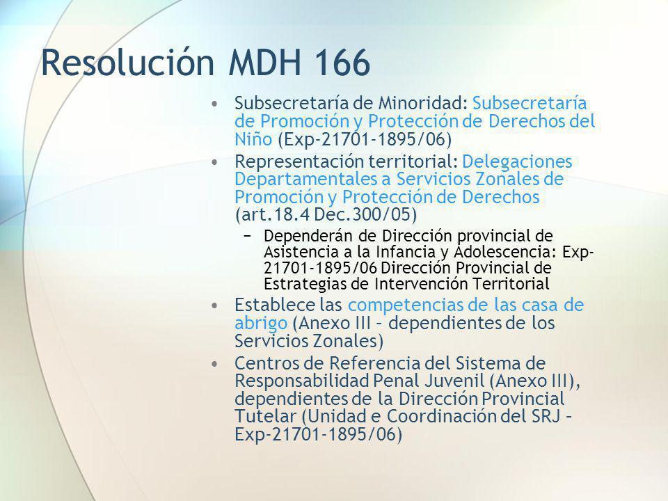 Resolución MDH 166 Subsecretaría de Minoridad: Subsecretaría de Promoción y Protección de Derechos del Niño (Exp-21701-1895/06) Representación territo