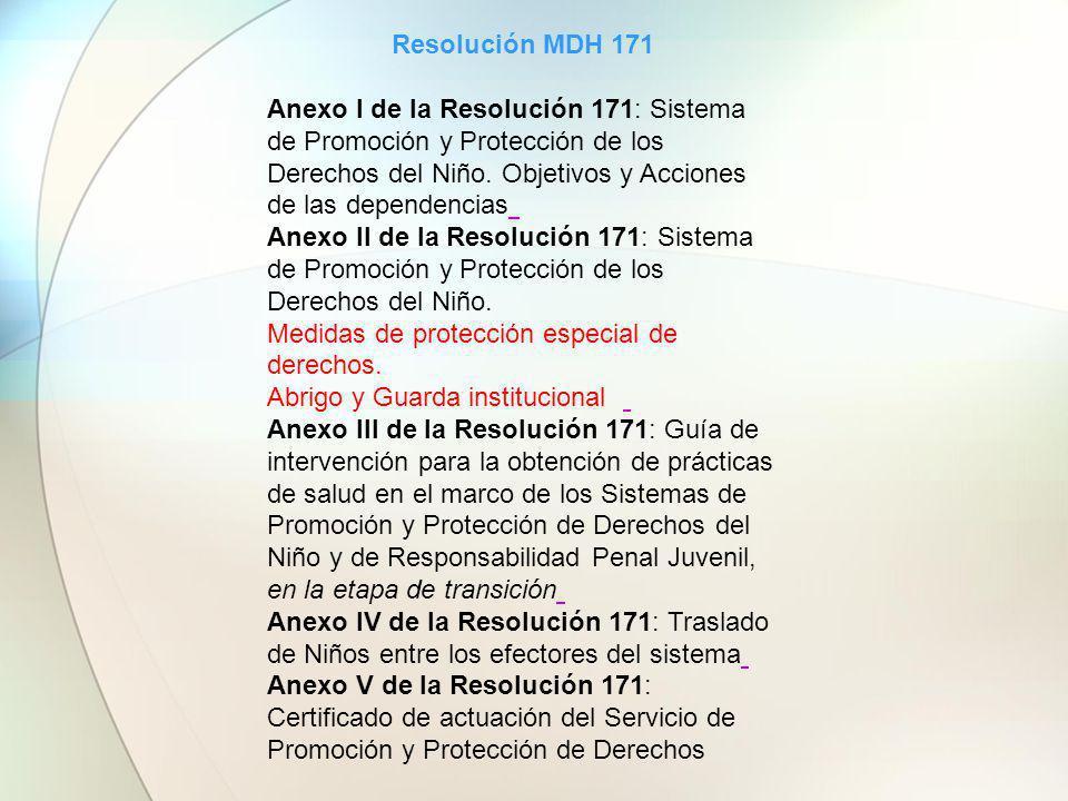 Resolución MDH 171 Anexo I de la Resolución 171: Sistema de Promoción y Protección de los Derechos del Niño. Objetivos y Acciones de las dependencias