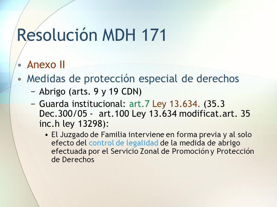 Resolución MDH 171 Anexo II Medidas de protección especial de derechos Abrigo (arts. 9 y 19 CDN) Guarda institucional: art.7 Ley 13.634. (35.3 Dec.300
