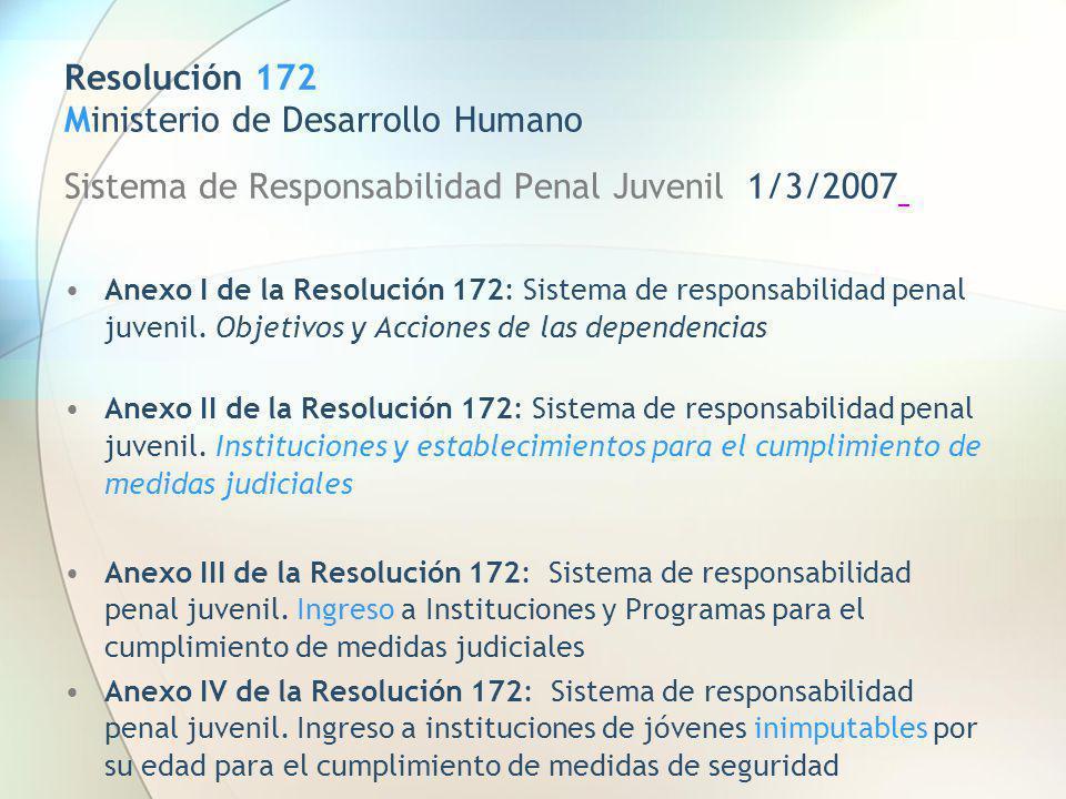 Resolución 172 Ministerio de Desarrollo Humano Sistema de Responsabilidad Penal Juvenil 1/3/2007 Anexo I de la Resolución 172: Sistema de responsabili