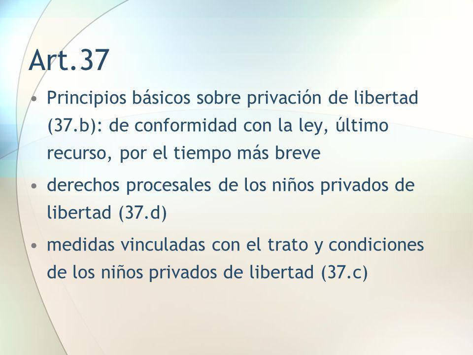 Art.37 Principios básicos sobre privación de libertad (37.b): de conformidad con la ley, último recurso, por el tiempo más breve derechos procesales d