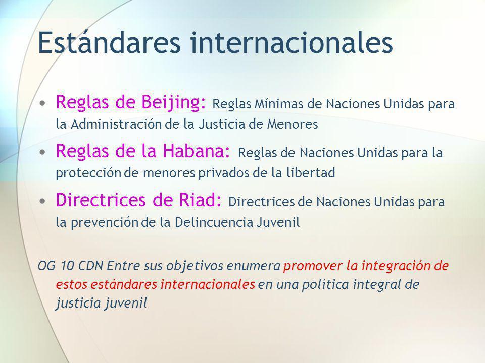 Estándares internacionales Reglas de Beijing: Reglas Mínimas de Naciones Unidas para la Administración de la Justicia de Menores Reglas de la Habana: