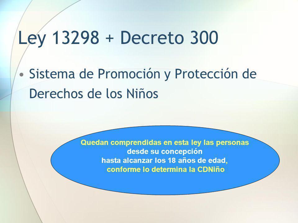 Ley 13298 + Decreto 300 Sistema de Promoción y Protección de Derechos de los Niños Quedan comprendidas en esta ley las personas desde su concepción ha