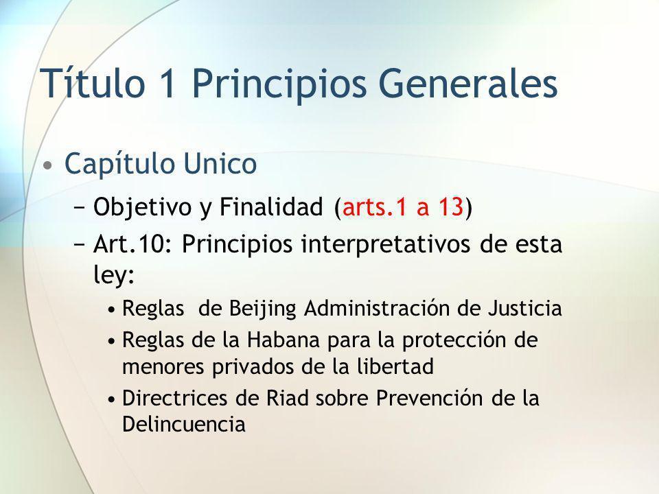 Título 1 Principios Generales Capítulo Unico Objetivo y Finalidad (arts.1 a 13) Art.10: Principios interpretativos de esta ley: Reglas de Beijing Admi