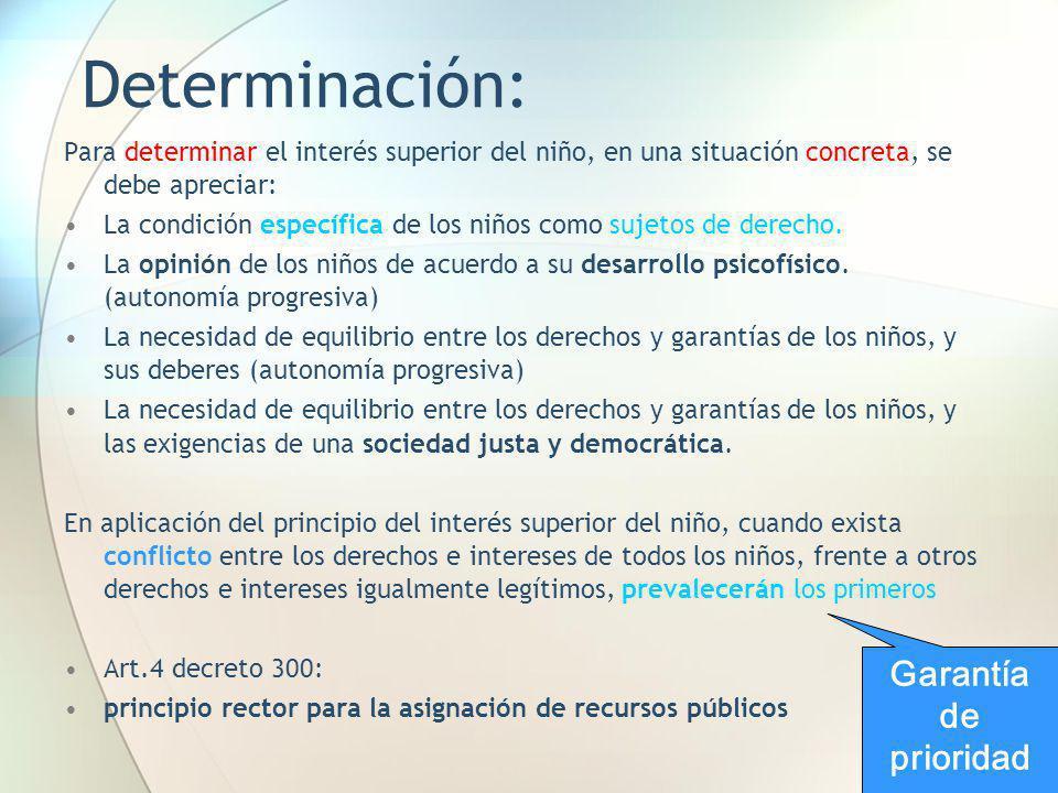 Determinación: Para determinar el interés superior del niño, en una situación concreta, se debe apreciar: La condición específica de los niños como su