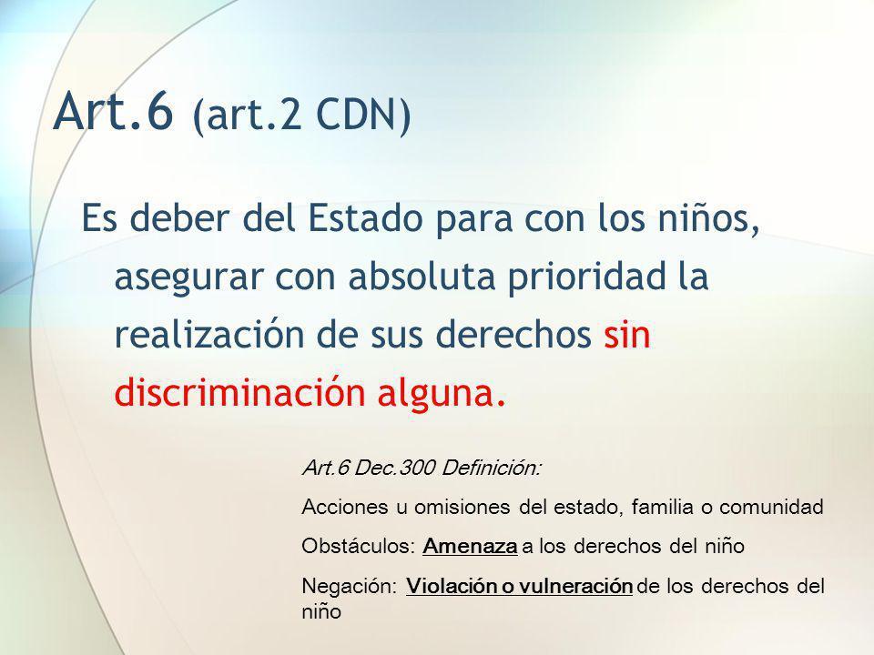 Art.6 (art.2 CDN) Es deber del Estado para con los niños, asegurar con absoluta prioridad la realización de sus derechos sin discriminación alguna. Ar