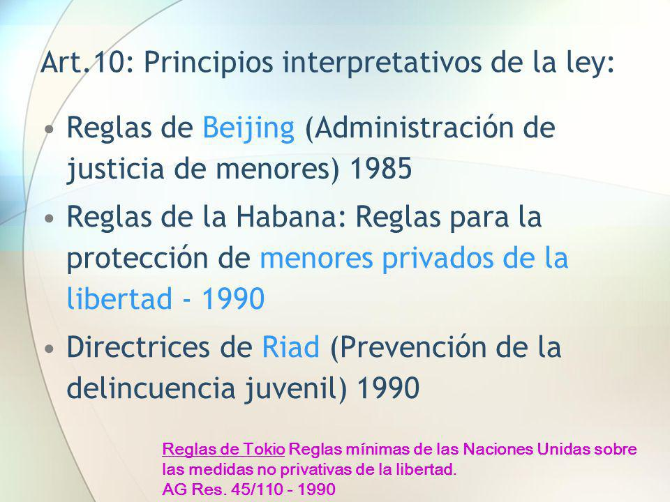 Art.10: Principios interpretativos de la ley: Reglas de Beijing (Administración de justicia de menores) 1985 Reglas de la Habana: Reglas para la prote