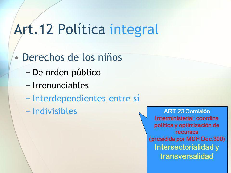 Art.12 Política integral Derechos de los niños De orden público Irrenunciables Interdependientes entre sí Indivisibles ART.23 Comisión Interministeria