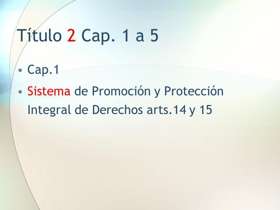 Título 2 Cap. 1 a 5 Cap.1 Sistema de Promoción y Protección Integral de Derechos arts.14 y 15
