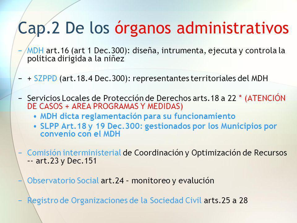 Cap.2 De los órganos administrativos MDH art.16 (art 1 Dec.300): diseña, intrumenta, ejecuta y controla la politica dirigida a la niñez + SZPPD (art.1