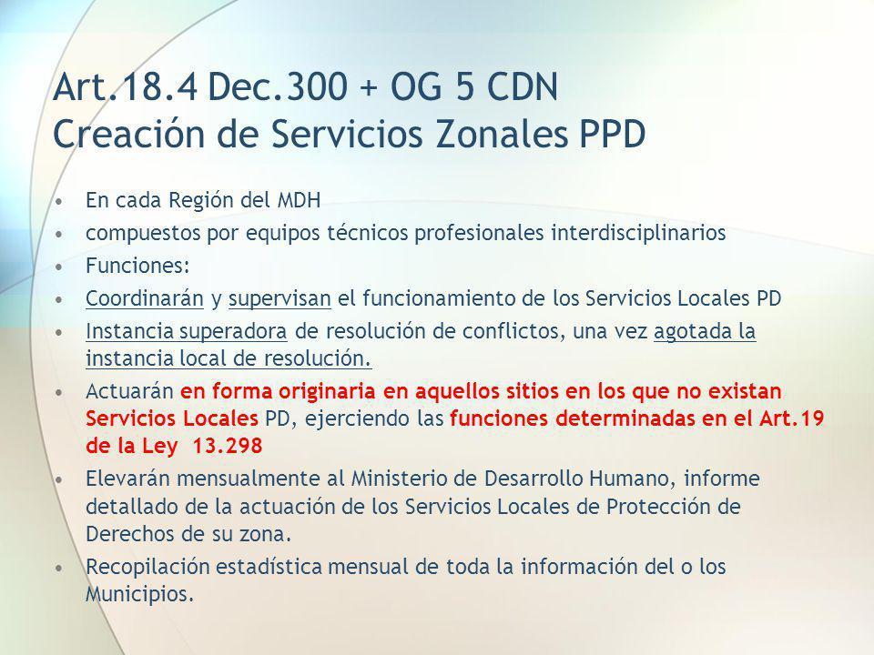 Art.18.4 Dec.300 + OG 5 CDN Creación de Servicios Zonales PPD En cada Región del MDH compuestos por equipos técnicos profesionales interdisciplinarios