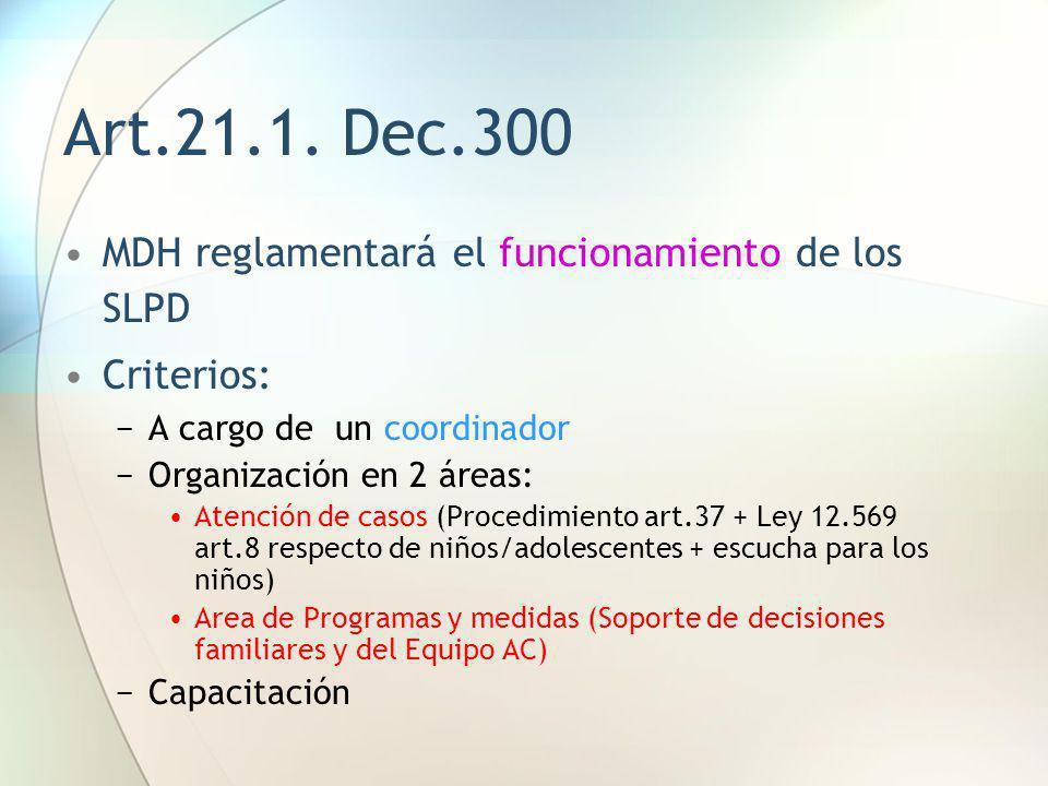 Art.21.1. Dec.300 MDH reglamentará el funcionamiento de los SLPD Criterios: A cargo de un coordinador Organización en 2 áreas: Atención de casos (Proc