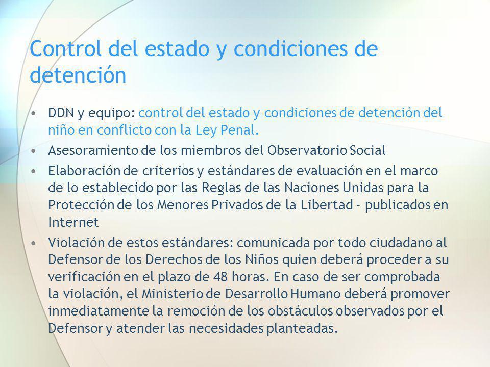 Control del estado y condiciones de detención DDN y equipo: control del estado y condiciones de detención del niño en conflicto con la Ley Penal. Ases