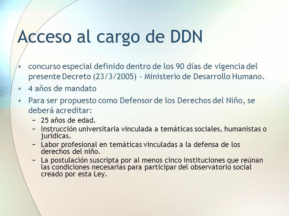 Acceso al cargo de DDN concurso especial definido dentro de los 90 días de vigencia del presente Decreto (23/3/2005) - Ministerio de Desarrollo Humano