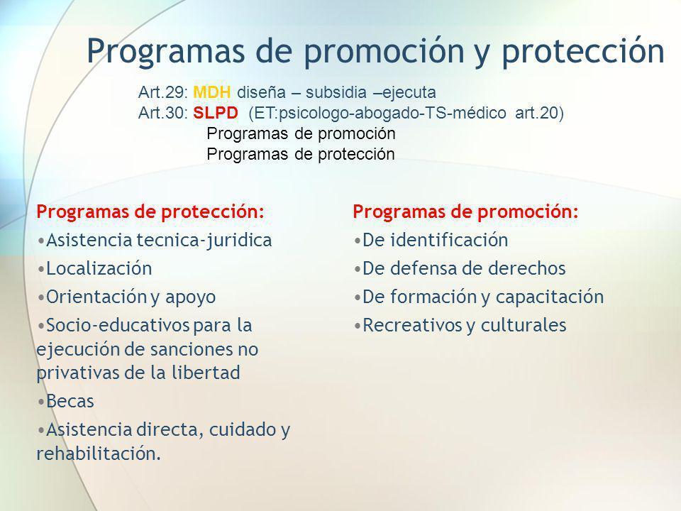 Programas de promoción y protección Programas de protección: Asistencia tecnica-juridica Localización Orientación y apoyo Socio-educativos para la eje