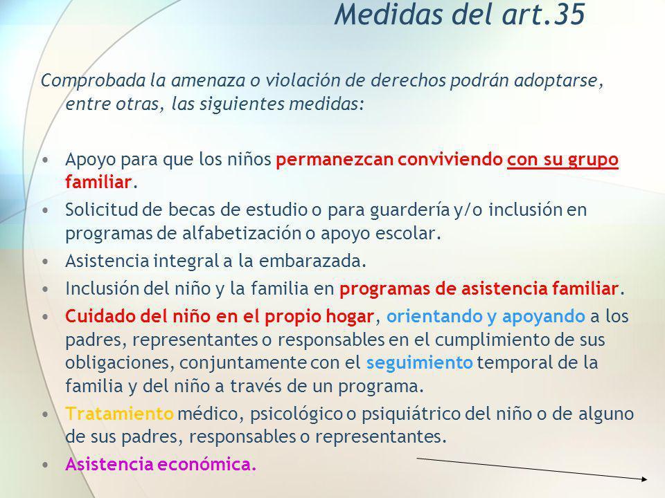 Medidas del art.35 Comprobada la amenaza o violación de derechos podrán adoptarse, entre otras, las siguientes medidas: Apoyo para que los niños perma